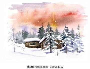 Winter village. Stylized nature background using watercolor textures. Watercolor background.