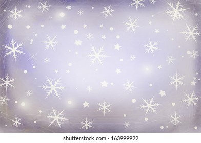 Winter violet Christmas grungy background with snow flakes