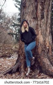 winter walk with cute blonde