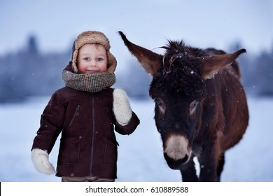 Winter walks. Childhood in the countryside. Boy and donkey.