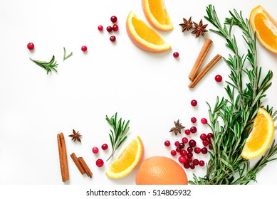 Winter warmer drink recipe concept, punch or mulled wine or Xmas party cocktail ingredients, blank space for a text, flat lay, view from above
