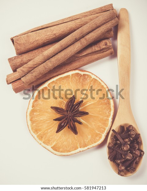 Winter warming spices - cinnamon, star anise, cloves.