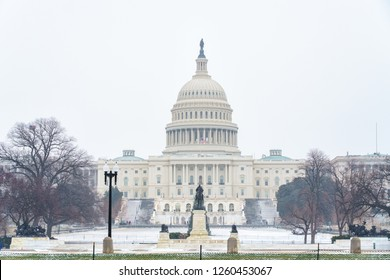 Winter Washington DC: US Capitol at snowy day