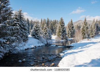 Winter water stream in the forest with snow covered trees