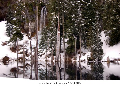 Winter and the Waterfall at June Lake on Mount St. Helens