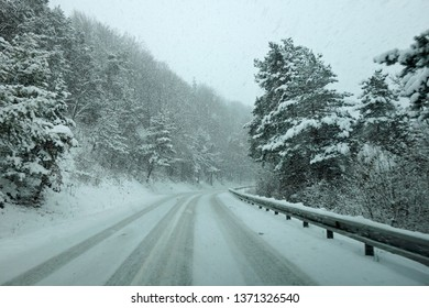 Winter weather, snow on the road, calamity on the road.