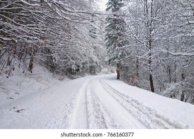 Winter weather, snow on the road. Snow calamity on the road. Snowstorm in Slovakia