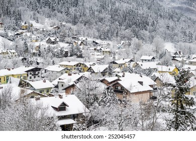 Winter  white landscape poland village in the mountain area covered by snow.