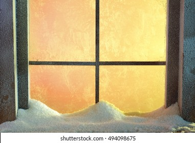 winter window of frost and ice and christmas time