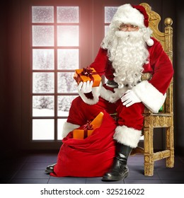 winter window space and chair and santa claus