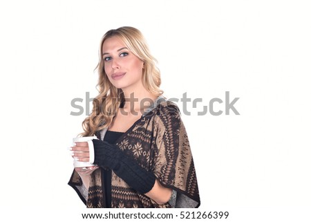 17f71b33e948 Winter Woman Drinking Tea Wearing Warm Stock Photo (Edit Now ...