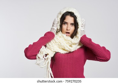 winter, woman in mittens, cold, New Year holidays