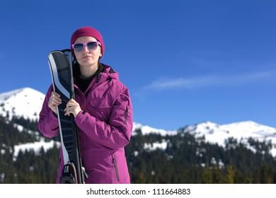 winter woman ski sport fun travel snow