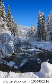 winter wonderland in the bavarian alps - snowy river in the forest
