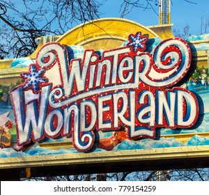 Winter Wonderland entrance close up sign in the Christmas market and fair in Hyde Park, London, 19/12/2017