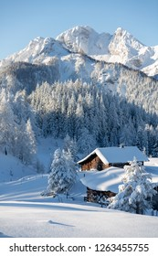 Winter wonderland in mountains. Winter vacation holiday wooden house in the mountains covered with snow. Pine trees forest and blue sky in the background. Vertical shot