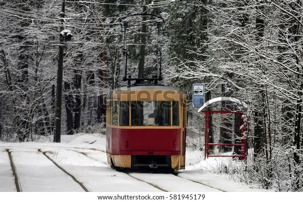 In the winter woods on a snowy road, a red tram at the stop.