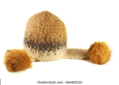 Winter wool hat on a white background