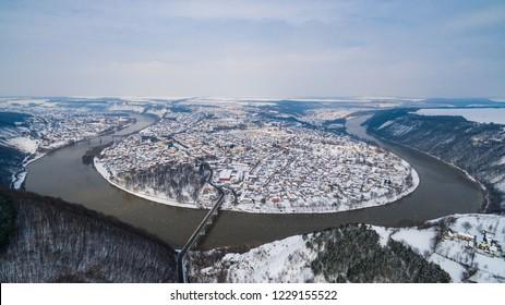 Winter Zalishchyky Ukraine. River around the city. River Snake