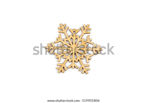 Winter,Christmas, New Year wooden decoration - snowflake, star. Isolated on white background. Top view. Closeup.