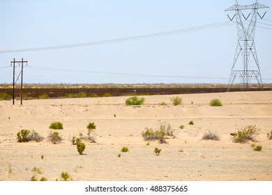 WINTERHAVEN, CALIFORNIA, USA - MAY 26, 2015: Fence in the desert at the U.S.-Mexico border.