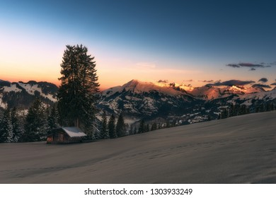 Winterly alpenglow at sunrise in Pany, a village in the Canton of Graubünden in Switzerland.