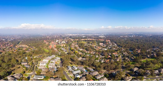 An winter's day aerial view over the suburb of Springthorpe in Macleod, Melbourne, Australia