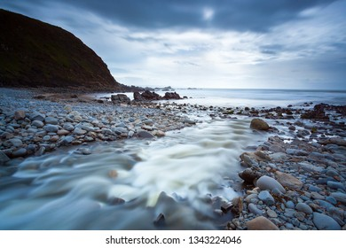 Winters day on the rugged Duckpool Beach Cornwall England UK Europe