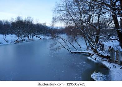 Winter's river in ice
