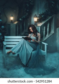 The Winter's Tale. Beautiful girl in a vintage dress. She sits on a bench and reading a book.  Snow and cold in the background. Long hair, baby face. Creative colors