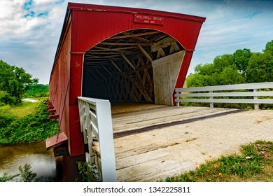 Winterset, IA USA August 23,2018: One of several vintage covered wooden walking bridges in Madison County Iowa, near Winterset, Iowa, Holliwell Bridge, built in 1880.
