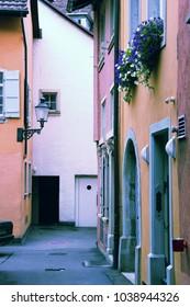 Winterthur street, Switzerland. Vintage filtered color style.