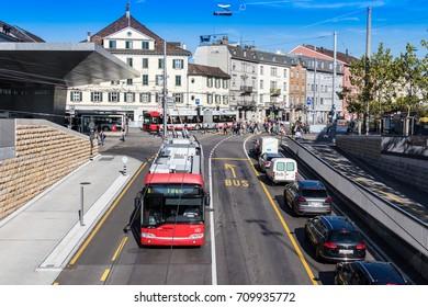 Winterthur Switzerland 2017/09/05 Zurich street seen from Salzhausplatz