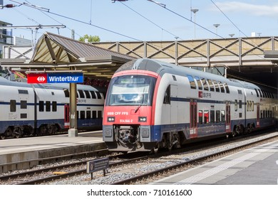 Winterthur Switzerland 2017/09/06 SBB RABe 514 train departs towards Zug from the station