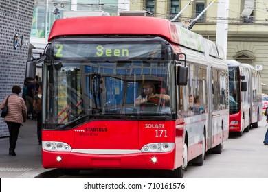 Winterthur Switzerland 2017/09/06 Solaris Trollino 18 on city line 2 ready to departure