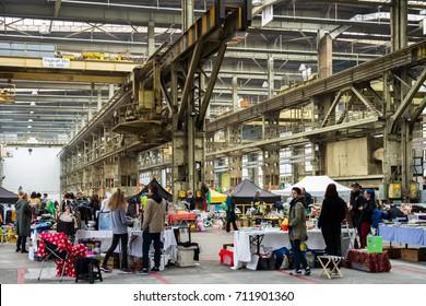 Winterthur Switzerland 2017/09/09 Flea market in Halle 53 at Sulzer areal