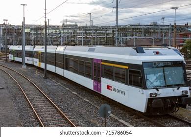 Winterthur Switzerland 2017/09/13: Stadler GTW 2/6 first generation train of SBB parked at Winterthur station