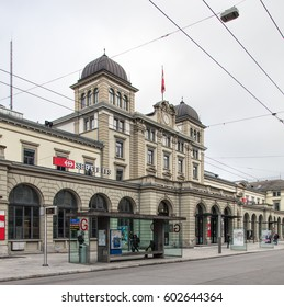 Winterthur, Switzerland - 26 December, 2016: building of the Winterthur railway station, view from Bahnhofplatz square. Winterthur railway station is owned and operated by the Swiss Federal Railways.