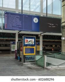Winterthur, Switzerland - 26 December, 2016: entrance to the Winterthur railway station from Bahnhofplatz square. Winterthur railway station is owned and operated by the Swiss Federal Railways.