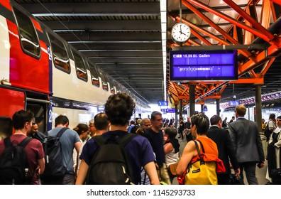 Winterthur, Switzerland - April 19 2018: Passengers are walking in Winterthur Station in Switzerland
