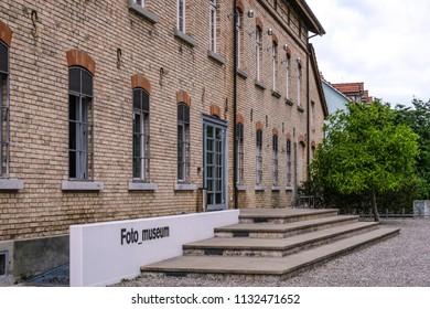 WINTERTHUR, SWITZERLAND - JUNE 28, 2018: Exterior of photographic museum Fotomuseum Winterthur in Gruezenstrasse street. Building opposite is Fotostiftung Schweiz, the Swiss photography foundation.