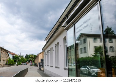 WINTERTHUR, SWITZERLAND - JUNE 28, 2018: Exterior of Fotostiftung Schweiz, the Swiss photography foundation, looking down Gruenzenstrasse street. The foundation is opposite Fotomuseum Winterthur.