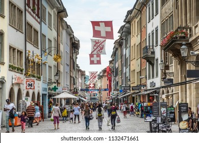 WINTERTHUR, SWITZERLAND - JUNE 28, 2018: View down Marktgasse towards city centre. Winterthur has one of the biggest pedestrianised city centres in Switzerland.