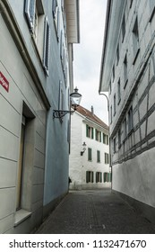 WINTERTHUR, SWITZERLAND - JUNE 28, 2018: View down Badgasse from Oberer Graben in historic center of Winterthur, in canton of Zurich.
