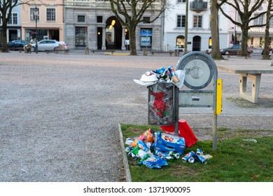 Winterthur, Switzerland - March 24, 2019 : Trash in park at Winterthur, Switzerland