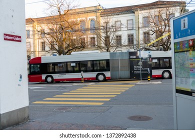 Winterthur, Switzerland - March 24, 2019 : A Hess trolleybus at the stop in Winterthur. Hess is a brand of Carrosserie Hess AG - a Swiss bus, trolleybus and commercial vehicle manufacture