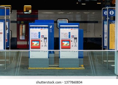 Winterthur, Switzerland - March 24, 2019 : Automatic ticket machine for public transport at CBB Train station of Winterthur in Switzerland.