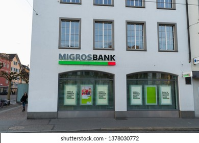Winterthur, Switzerland - March 24, 2019 : an office of the Migros Bank. Migros Bank is a Swiss bank founded in 1958 by Gottlieb Duttweiler, it is owned by the Federation of Migros Cooperatives