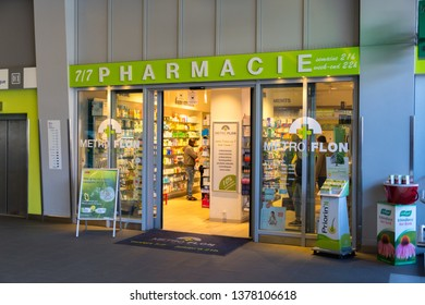 Winterthur, Switzerland - March 24, 2019 : pharmacie metro flon in CBB Train station of Winterthur in Switzerland.