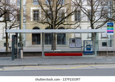 Winterthur, Switzerland - March 24, 2019 : Bus Stop and Automatic ticket machine for public transport in Winterthur, Switzerland.